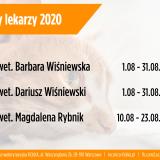 Urlopy lekarzy - sierpień 2020 - Przychodnia weterynaryjna Fiolka Warszawa